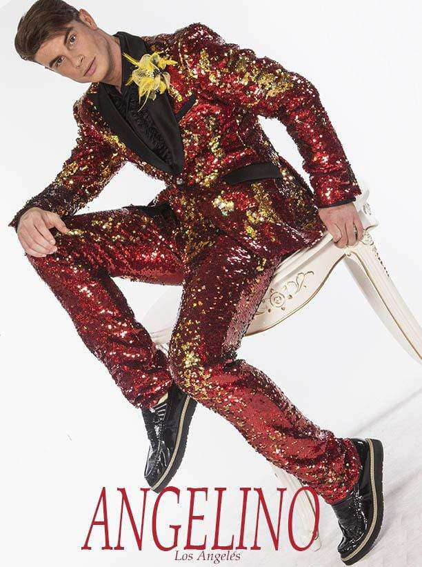 Sequin Suits New R. Red/Gold - Sequin - Mens - Suits - ANGELINO