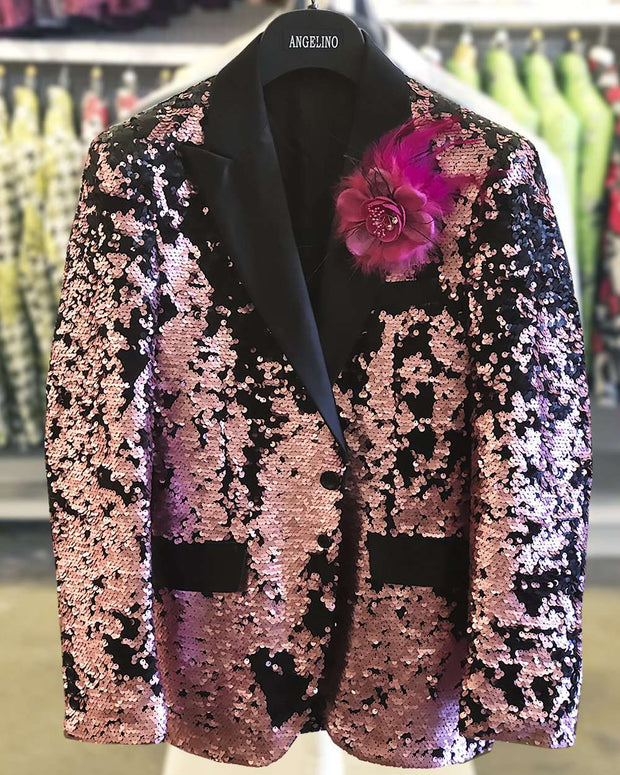 Men's Sequin Blazer champagne pink -38R- Fashion - Sequin -  Tuxedo - ANGELINO