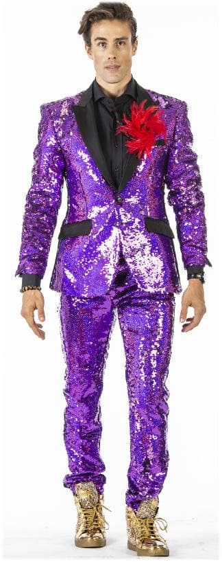 Sequin suit for men, pink sequin tuxedo suit.