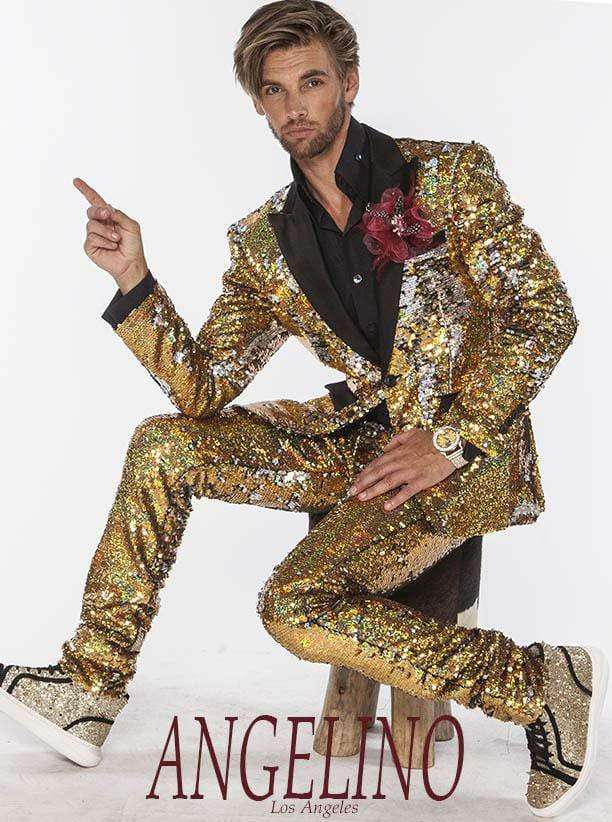 Sequin Suit, Gold/Silver  color with black satin lapel - 2 - ANGELINO