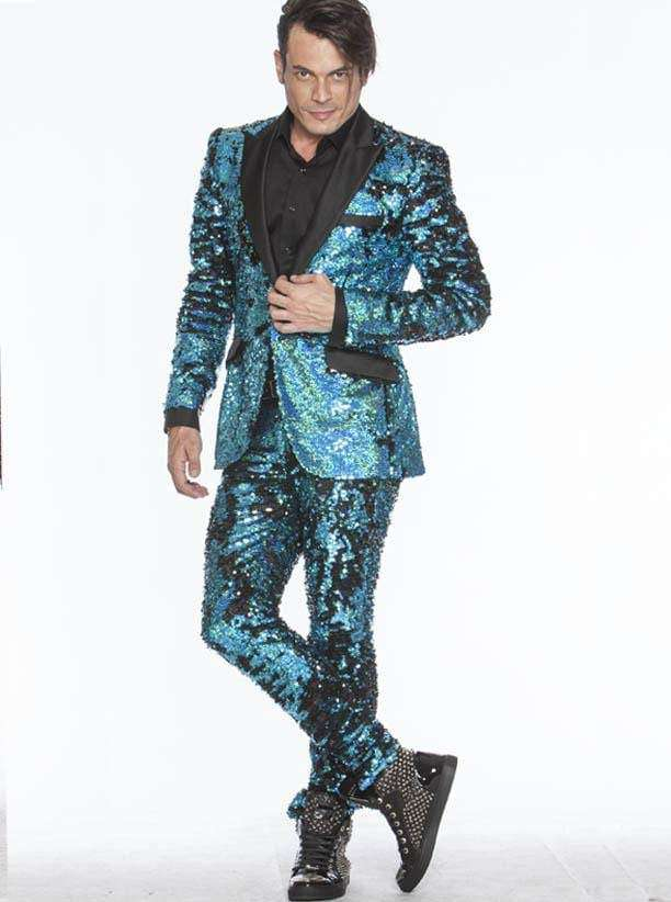 Sequin Suits for Men, tuxedo looking sequin suits with black lapel, in Teal | ANGELINO