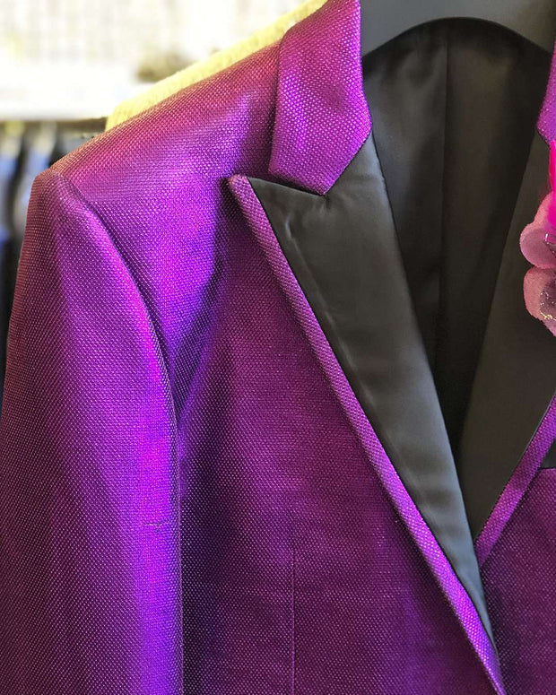 Men's Fashion Blazer, Lurex 2 Purple -40 Long - Tuxedo - Prom - Jacket - ANGELINO