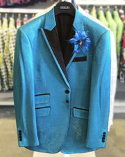 Men's Fashion Blazer Lurex2 Blue -40 Long- Prom - Blazers - 2020 - ANGELINO