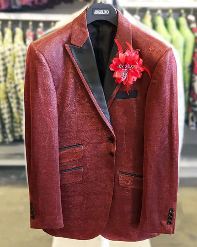Men's Fashion Blazer, Lurex 2 Red -40L - Prom - Tuxedo - Blazer - ANGELINO