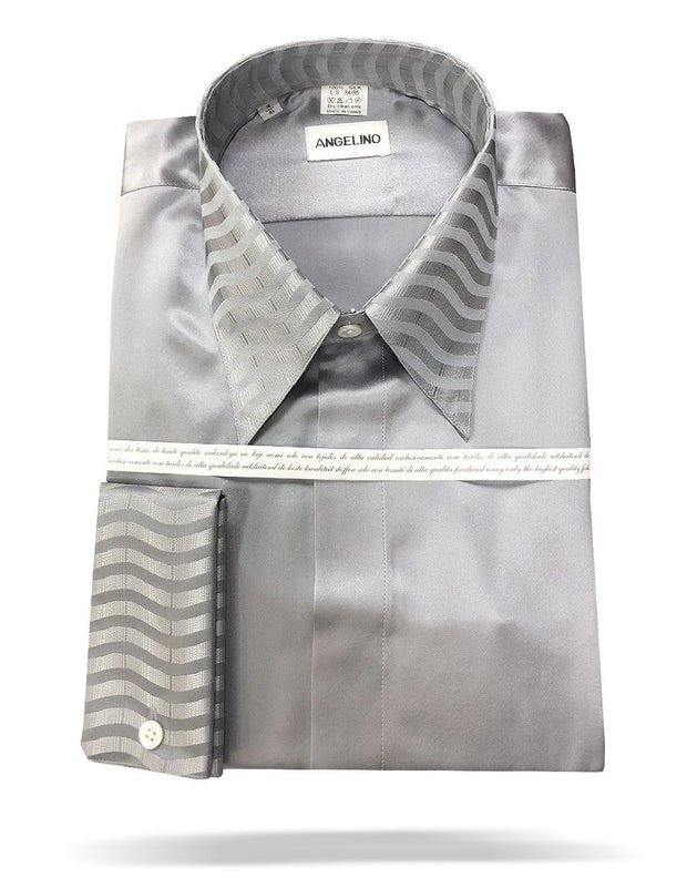 mens silver silk shirt
