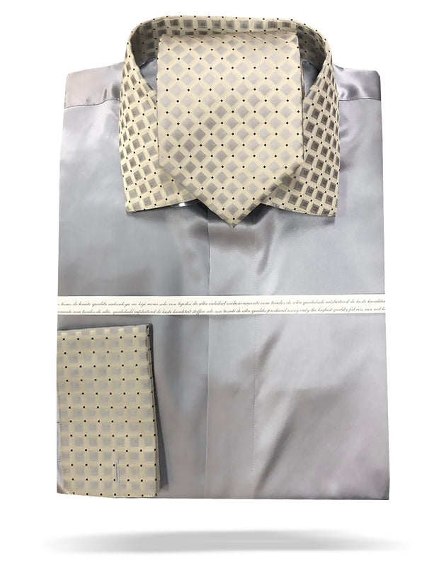 mens silver silk shirt with matching tie