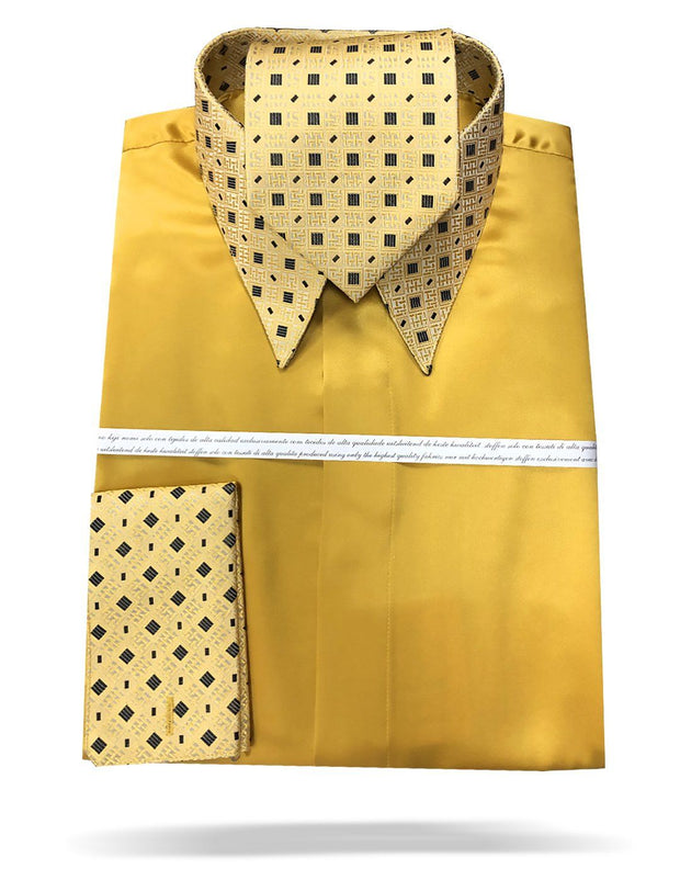 mens gold silk shirt with matching tie and hanky