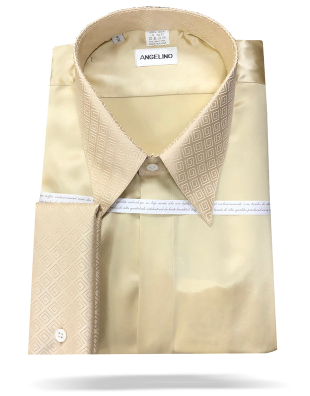 mens beige silk shirt