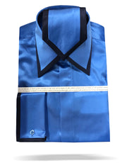 mens blue silk shirt with matching tie and hanky