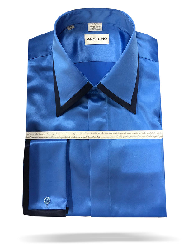 Men's Silk Shirts, SS-A Blue-Fashion-Dress Shirt - ANGELINO