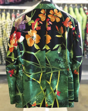 Men's Fashion Silk Blazer flower Green 40L - ANGELINO