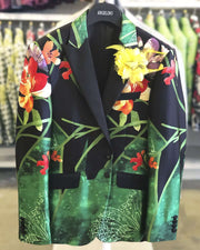 Men's Fashion Blazer, silk, flower Green 40L - Prom - Tuxedo - Blazer - ANGELINO