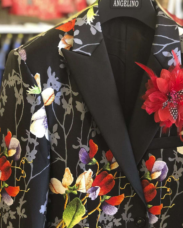 Men's Fashion Blazer, Silk, Flower bouquet 40L - Prom - Mens - Fashion - ANGELINO