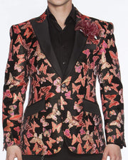 Blazer for Men Small Butterfly Coral Pink - ANGELINO