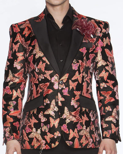 Blazer for Men Small Butterfly Coral Pink