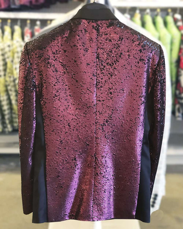 Sequin Jacket burgundy, Mulberry -38R- 3- ANGELINO