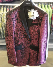 Sequin Jacket burgundy, Mulberry -38R- - ANGELINO
