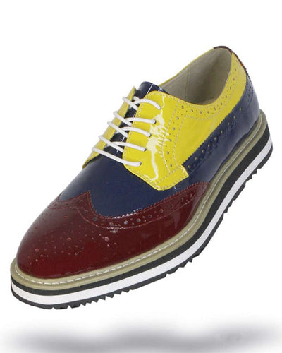 Men's Leather Shoes - Spirit Burgundy/Navy/Yellow - ANGELINO