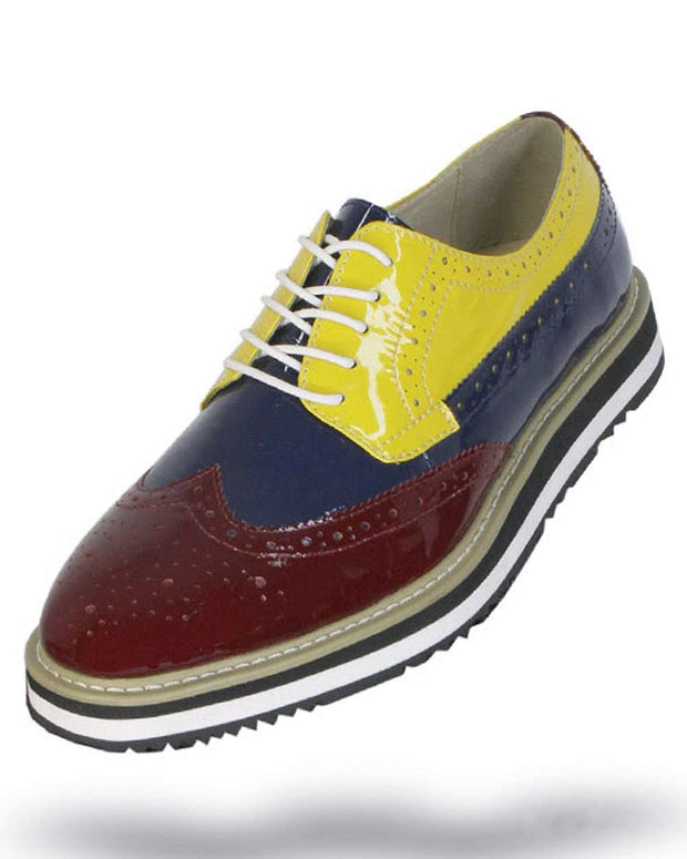 Men's Leather Shoes - Spirit Burgundy/Navy/Yellow- Fashion-2020 - ANGELINO
