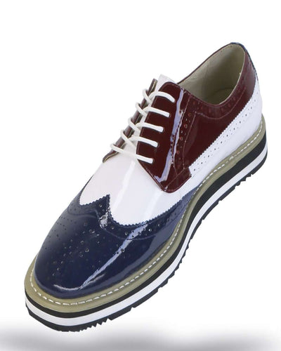 Men's Leather Shoes - Spirit Navy/White/Burgundy - ANGELINO