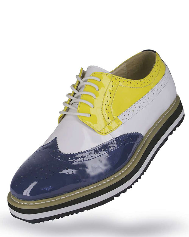 Men's Leather Shoes - Blue/Yellow/White - ANGELINO