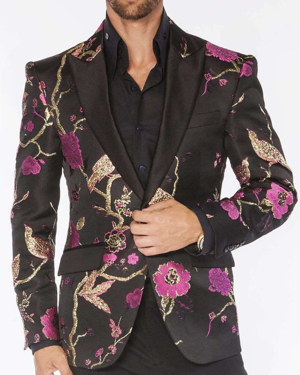 black blazers for men with pink flowers and gold birds