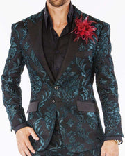 mens suits, Tango Green with black lapel and pocket flap - ANGELINO