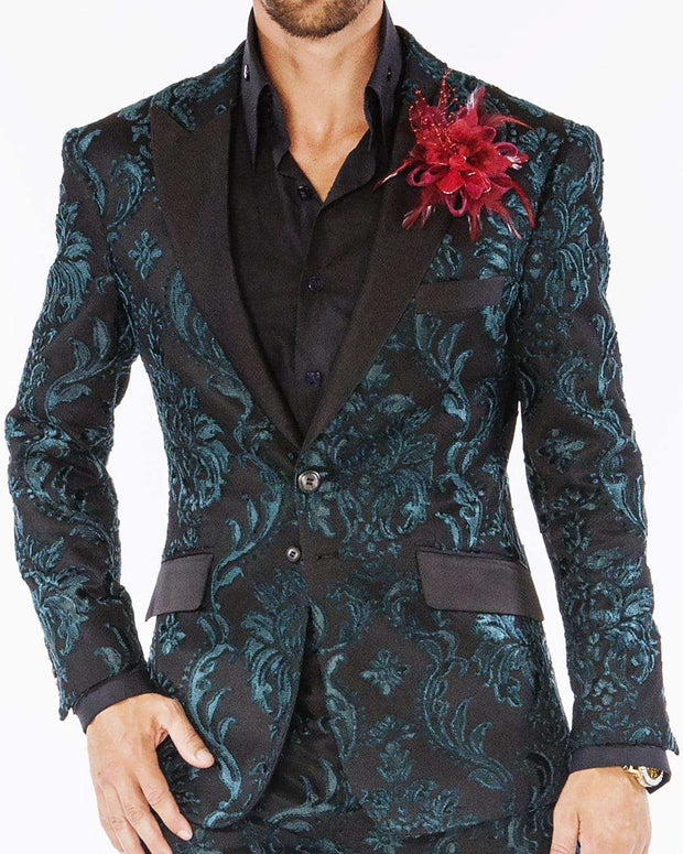 Fashion Suits Green Victorian motifs with black lapel
