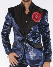 prom suits navy shinny velvet suit with sold black lapel
