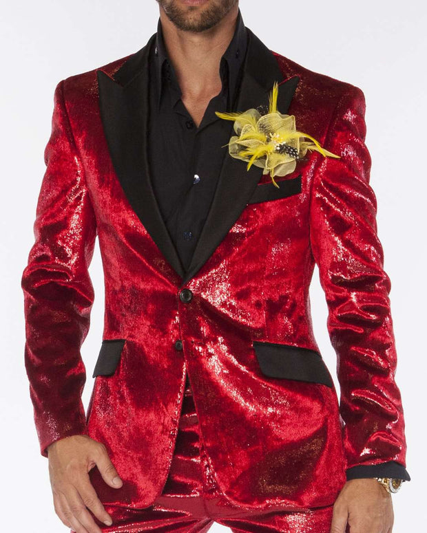 men's red blazer, velvet fabric with black lapel, good for prom.