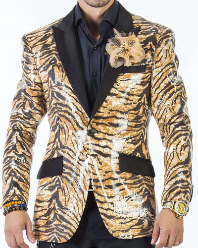 Sequin Blazers mens, tuxedo looking jacket with animal print and black lapel.