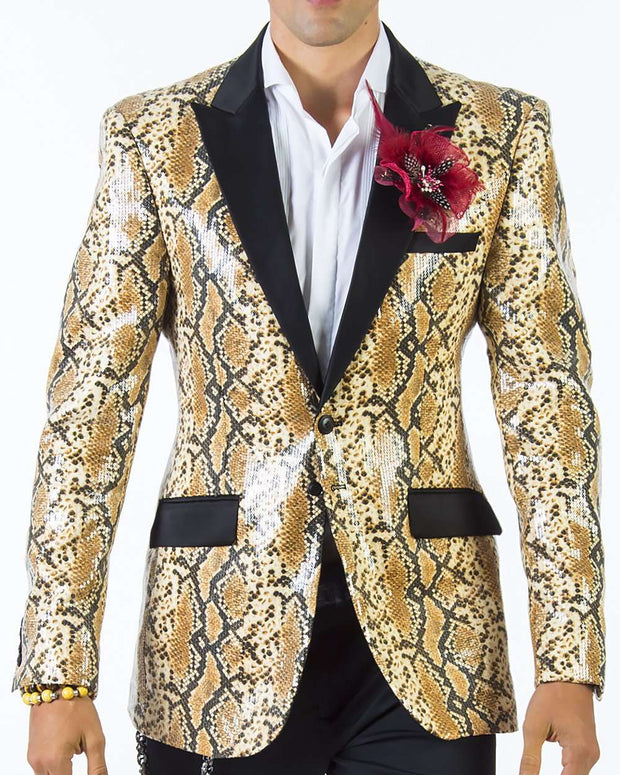 Sequin blazers for men, Tuxedo looking sequin blazer with Payton print and black lapel