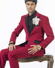 Tuxedo for men, tuxedo suit in red color with black lapel