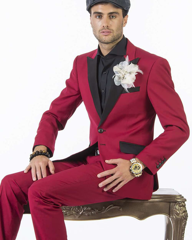 Tuxedo for men,  red prom tuxedo suit with black lapel - 2