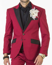 Tuxedo for men, tuxedo suit in red color with black lapel - 1
