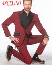 Tuxedo for Men - Tux2 Burgundy - Prom - Suits - Fashion - ANGELINO