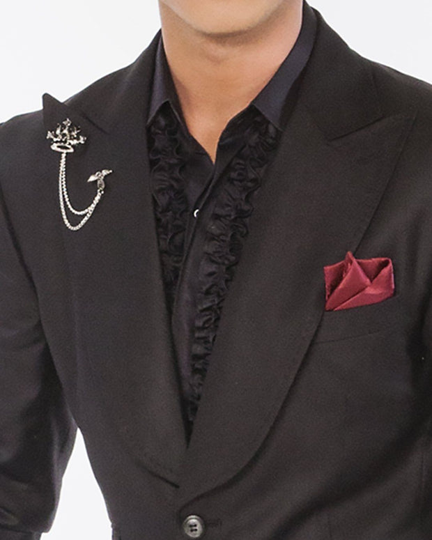 black tuxedo suits, prom black suits, big lapel black suits, men's black slim fit suit