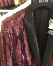Sequin Blazer Burgundy color with black lapel - 38R - 2 - ANGELINO