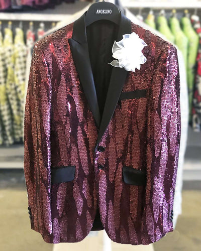 Sequin Blazer, Burgundy tuxedo blazer with black lapel-38R- - ANGELINO