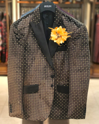 Men's Velvet Blazer - Sport Coat - Dinner Jacket - Velvet Brown with Gold Polka Dot - ANGELINO