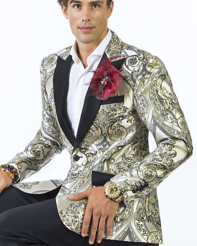 Tuxedo jacket with victorian motifs and black lapel