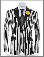 fashion Sport Coat, Piano black and white piano keys printed on cotton fabric