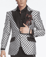 Mens Fashion blazer, BLACK POLKA DOT blazer, POLKA DOT blazer for men, fashion polka dot blazer for men