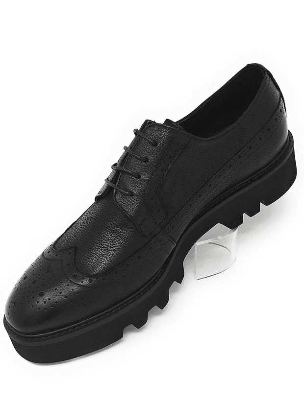 BLACK OXFORD WINGTIP CREEPER,Classic wingtip created for comfort and style. Leather upper, leather inside lining, cushion sole, lace-up construction, rubber sole, and light weight.
