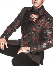 Fancy Fashion Sport Coat with red and gold flower on black fabric, Tuxedo dinner blazer