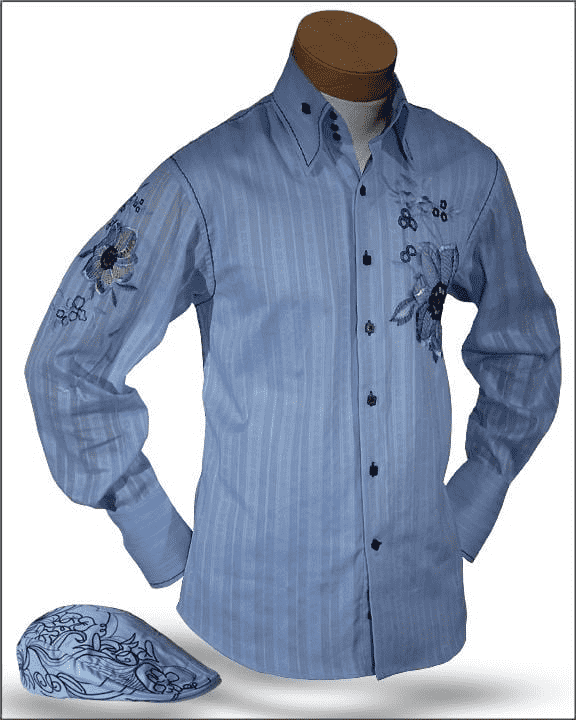 Men's New Fashion Angelino Shirts Luigi Blue - ANGELINO