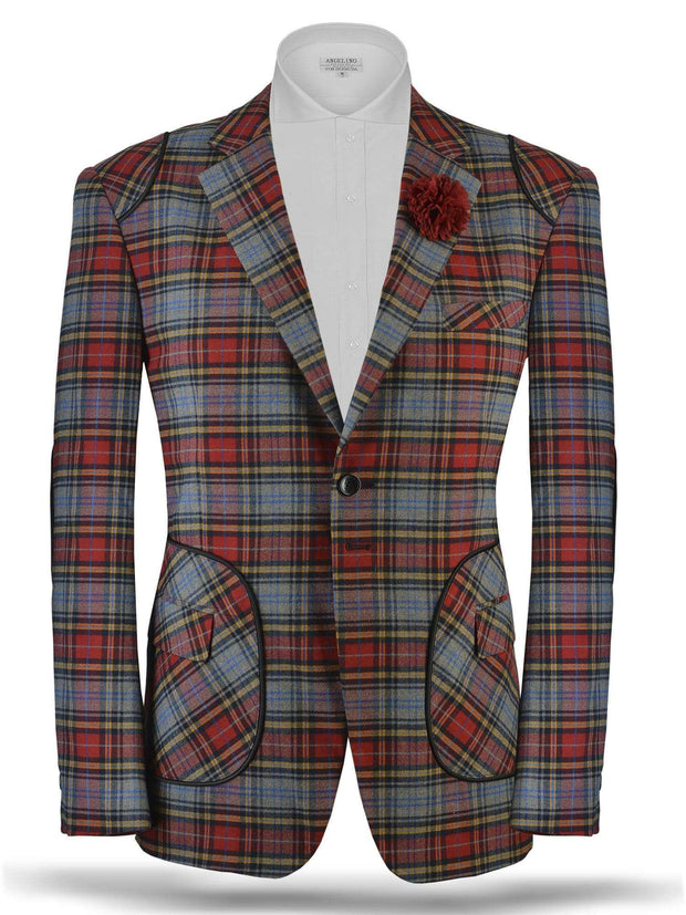Men's plaid sport coat blazer Alex2 Red - ANGELINO