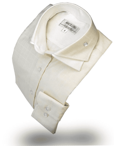Men's Fashion Premium Angelino Double Collar Shirt Cream - ANGELINO