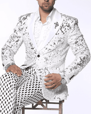 Mens Sequin Blazer and Sport Coat-Sic White/Silver - ANGELINO