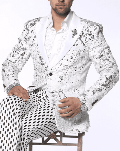 Fancy Fashion Blazer and Sport Coat-Sic White/Silver - ANGELINO